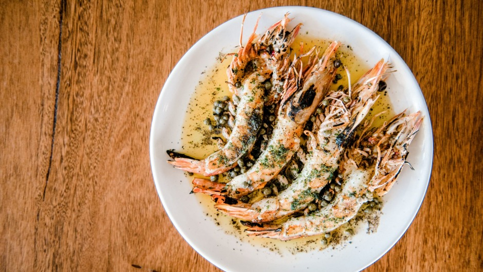 Barbecued king prawns, prawn butter, capers and parsley at Labart.