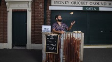 Gamillarroy man Corey Grech, selling kangaroo pies with his food truck Meat Brothers, outside Sydney Cricket Ground.
