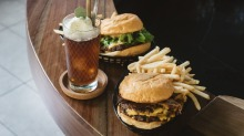 The Fancy Free Float with coconut cold drip coffee and pandan gelato, and a pair of Mary's burgers.