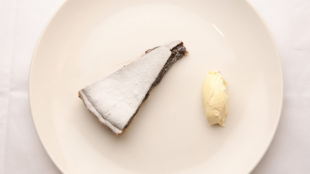 The dark, fudgy chocolate tart.