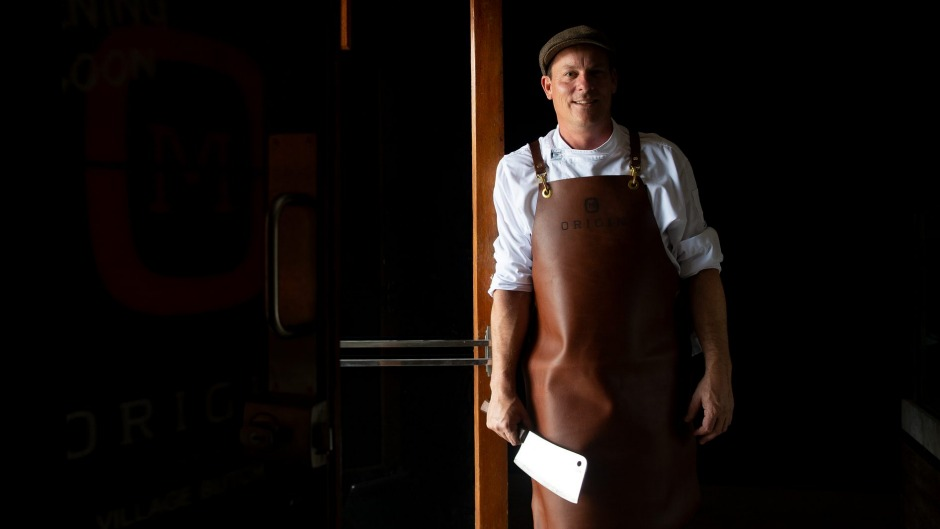 Butcher Chris Du Plessis at in his new Randwick butcher, Origin Meat.