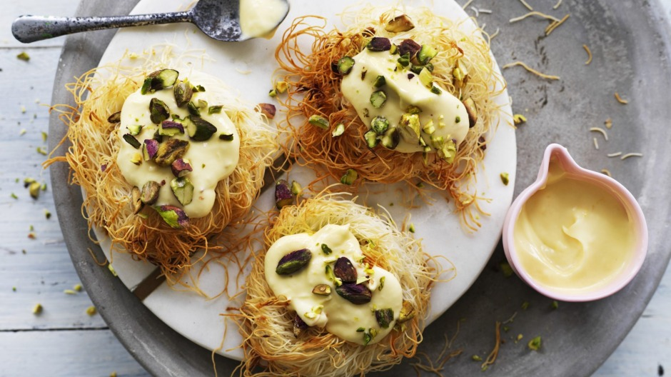 Kataifi pastry nests topped with yuzu cheesecake.