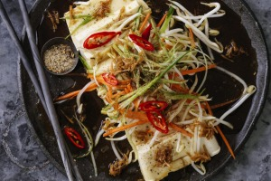 Kylie Kwong's refreshing silken tofu with vegetables, chilli and ginger.