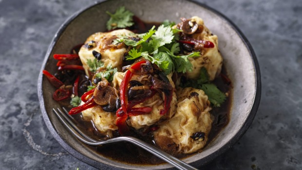 Kwong's Deep-fried silken tofu with black bean, chilli and coriander.