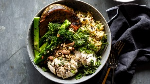 Middle Eastern chicken and spice roasted pumpkin rice bowl