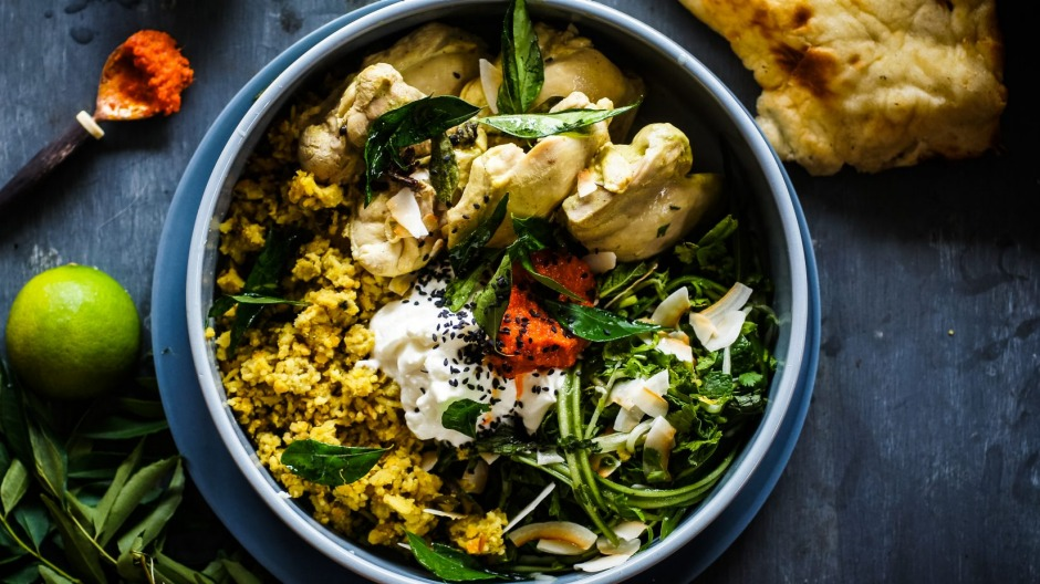 Sri Lankan curry-poached chicken with cucumber herb salad