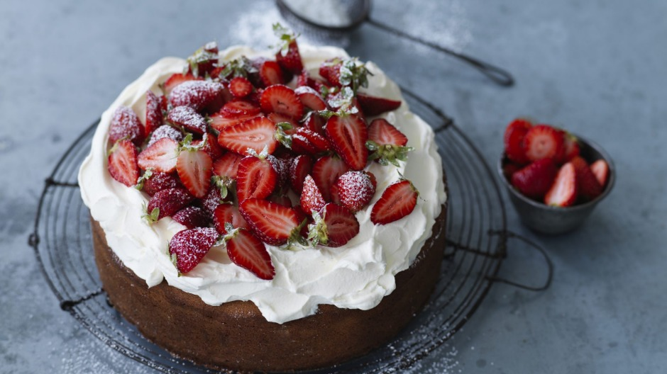 There's no need to cut and fill this sponge cake - simply spread the whipped cream on top.