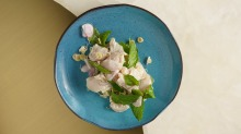Thai-style cured kingfish salad at David Thompson's Aaharn in Hong Kong.