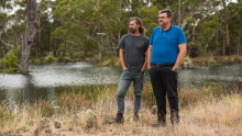 Chef David Moyle and Damien Bell at Lake Condah.