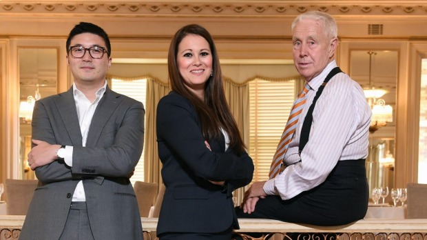 Peter Rowland (right), pictured earlier this year with business partners Mohan Du and Emma Yee, who now operate the ...