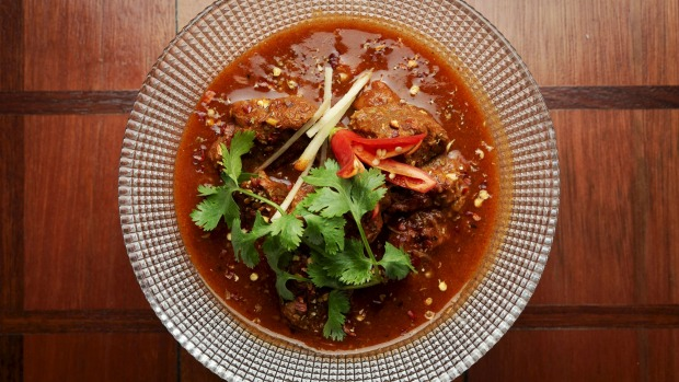 Beef ambotik is a tangy-sweet version of vindaloo cooked with tomato, peppercorns, cumin and ginger.