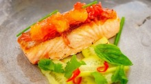 Grant King's Gastro Park dish ofseared salmon, pink grapefruit, cucumber and holy basil rides again.