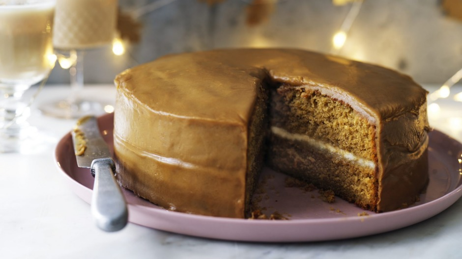 Irish coffee cake sandwiched with Bailey's cream mascarpone.