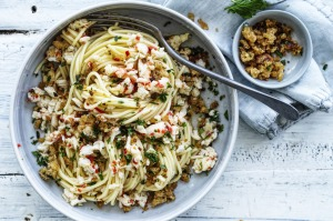 Neil Perry's spaghetti with spanner crab and pangrattato ctions)