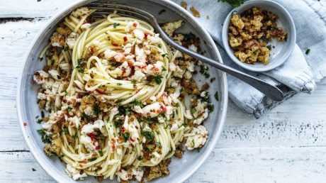 Neil Perry S Spaghetti With Spanner Crab And Pangrattato Recipe Good Food