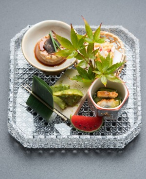 Zensai, a platter of tiny delicacies, part of Ishizuka's 11-course kaiseki menu.