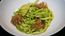Strozzapreti with pistachio pesto and pangrattato.