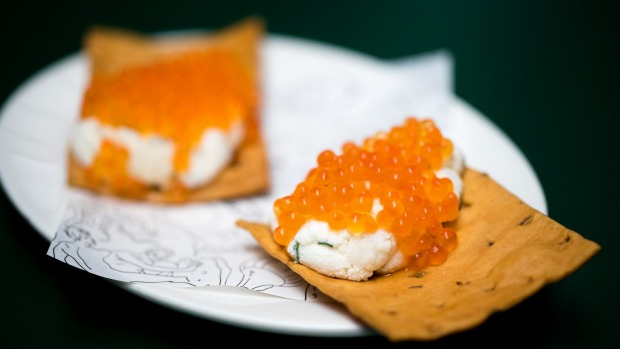 Crostino topped with ricotta and Yarra Valley caviar.