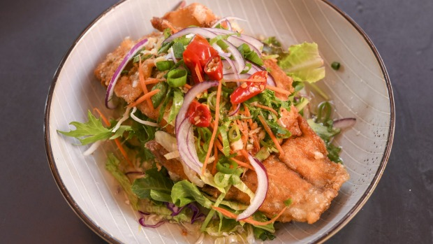 Insane fish - battered barramundi in lemongrass sauce.