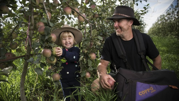 Sam Edwards and his daughter Grace of Logan Brae Orchards in Blackheath.