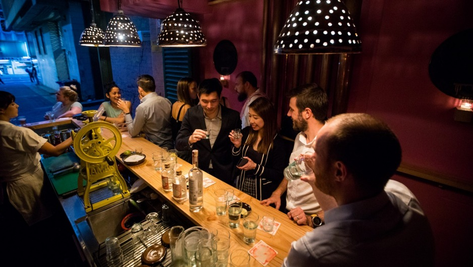 Cantina OK! is a shipping container-sized mezcal bar.