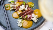 Vindaloo steak tataki, soy smoked egg yolk, pickled baby lotus root.