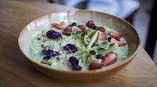 Kombucha, pandan and chia bircher with almond milk served at Went to See the Gypsy in Alexandria.