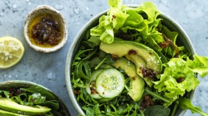 Good green salad with fried-onion vinaigrette.