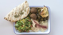 Balagan Kitchen's lunch trays featuring chicken, lamb or roasted veg and falafel with two dips, tabbouleh, pickles and ...