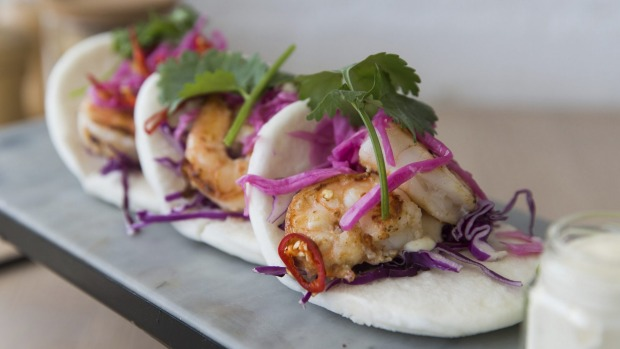 Prawn bao with punchy ginger-garlic prawns and jalapeno mayo.