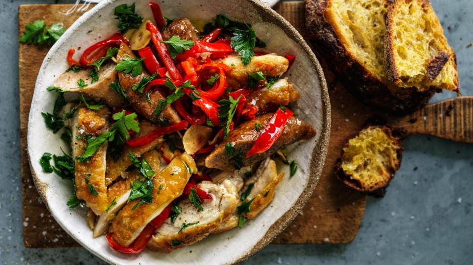 Hot, sour, sweet and savoury: Chicken, sausage and capsicum bake.