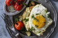 English muffins topped with white beans and cheese (fried egg optional).