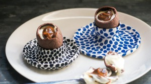 DIY creme eggs filled with caramel and mascarpone.