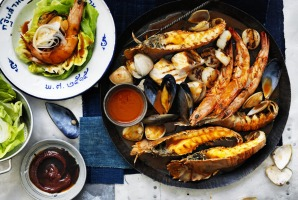 Neil Perry's barbecued seafood withgochujangbutter sauce.