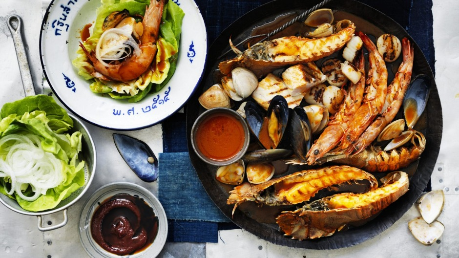 Barbecued seafood with gochujang butter sauce.