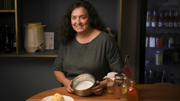 Sharon Flynn makes scoby, the bacteria used for fermented milk kefir.