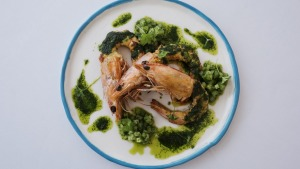 King prawns with green tomatoes and parsley.