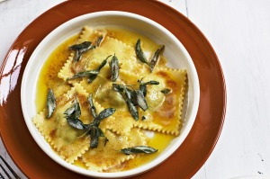 Ricotta, spinach and lemon ravioli.