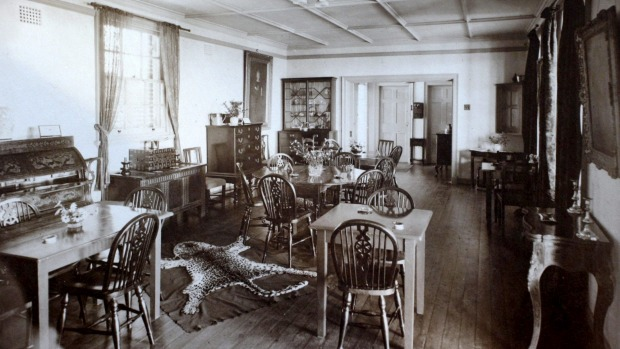 The dining room at Jonah's Restaurant circa 1929, complete with leopard's skin rug.