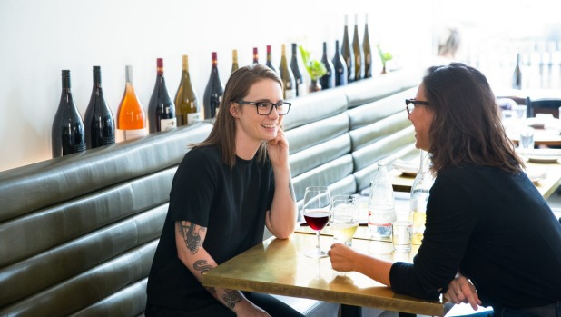 Esther Meek and Katie Shiff enjoy a drink at Marion wine bar in Melbourne.