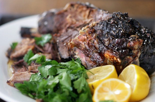 Simple, slow-cooked Greek-style roast lamb <a ...