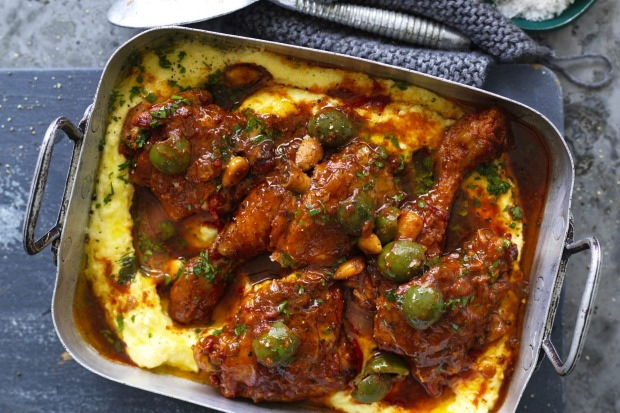 Neil Perry says his braised chicken, green olive and almonds makes the best leftovers –  use as filling for a jaffle <a ...