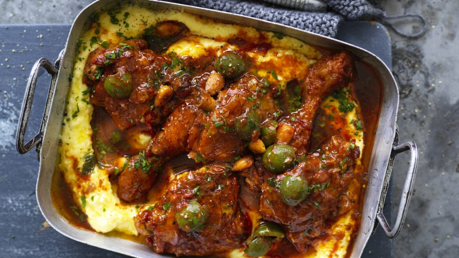 Braised chicken, pictured on a bed of polenta.