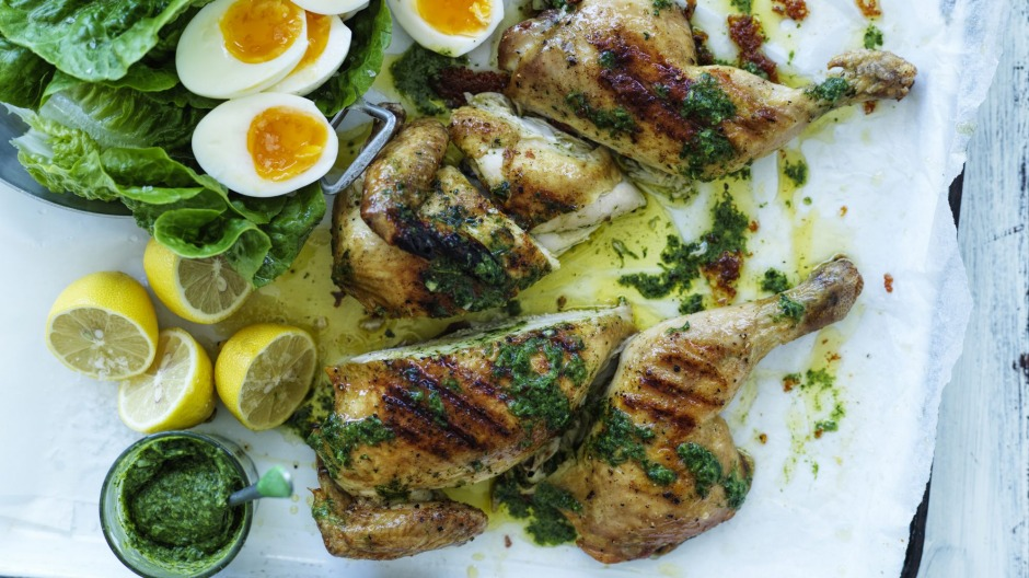 Easy Easter: Barbecued butterflied chicken and eggs.