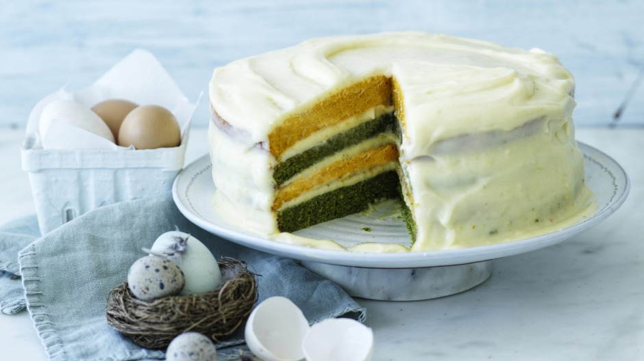 Two-tone Easter cake with cream cheese icing.