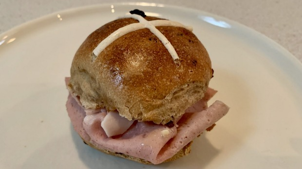 Hot cross buns sandwiched with mortadella - two thumbs up.