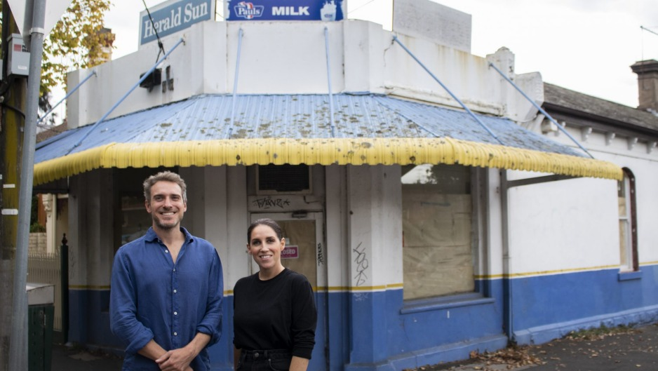 Siblings James and Cat Laskie outside Barton Milk Bar in Hawthorn, which will soon become a cafe.