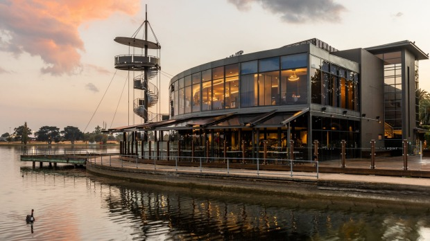 The exterior of Sun Kitchen, beside the lake at Albert Park.