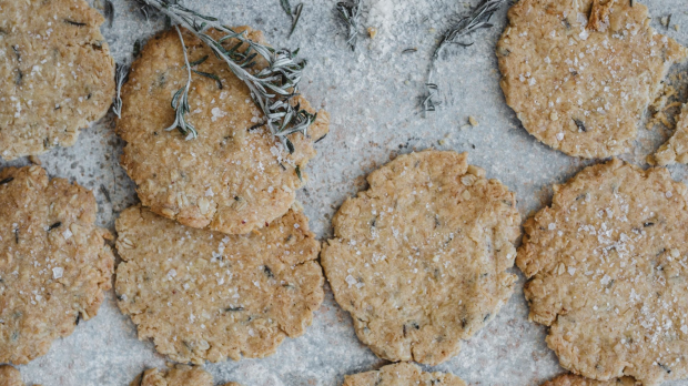 Sea rosemary, lime and Murray River salt Anzac biscuits.