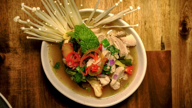 Tom saap is a hot and sour pork bone soup.